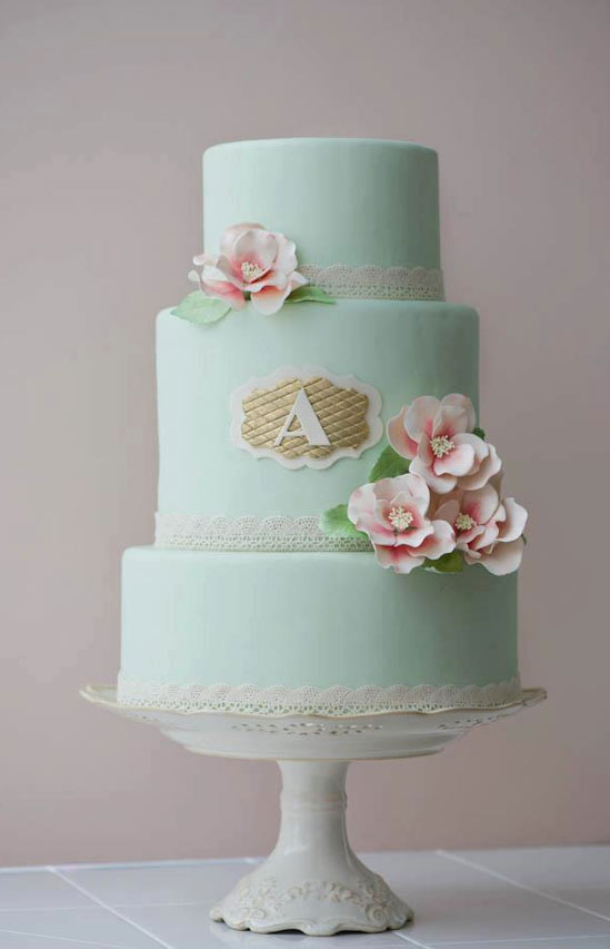 Teal Tiered Cake with Gold Monogram A and Pink Flowers