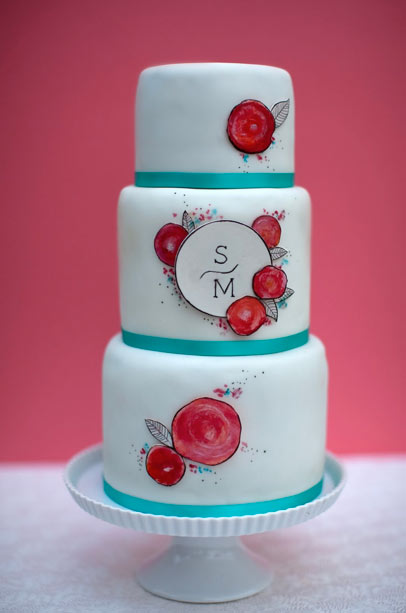 White Tiered Cake with Hand-Painted Flowers and Monogram