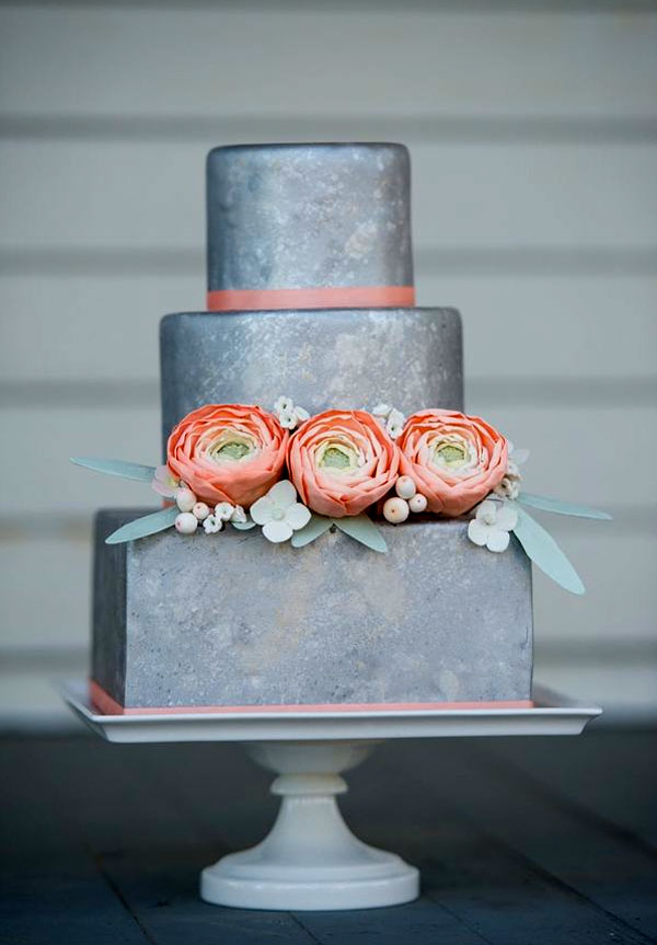 Three-Tiered Silver Cake with Peach-Colored Flowers
