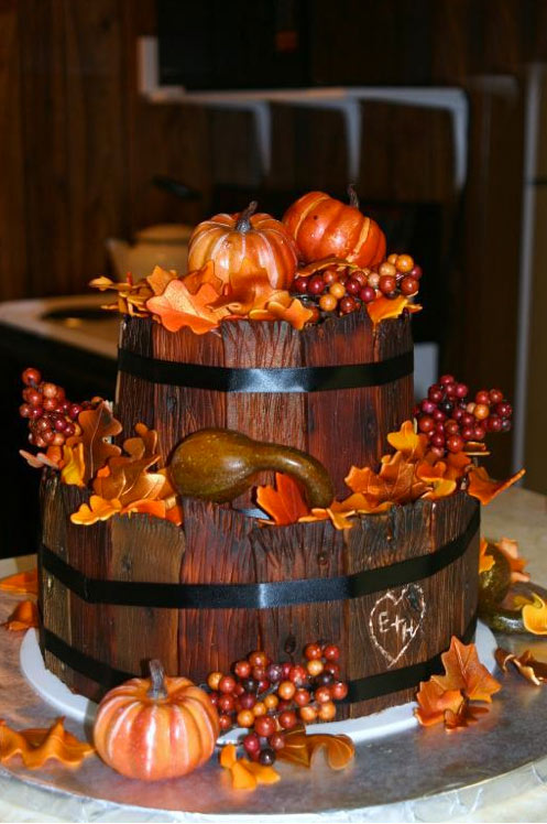 Two-Layered Cakes with Wood Texture