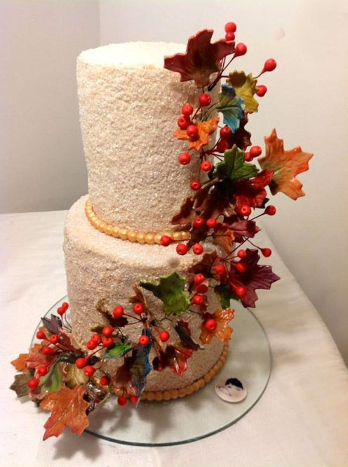 Two-Layered Cake with Colored Autumn Leaves
