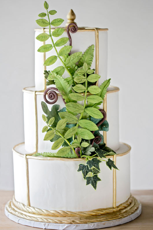 White 3-Layer Cake with Green Fondant Leaves