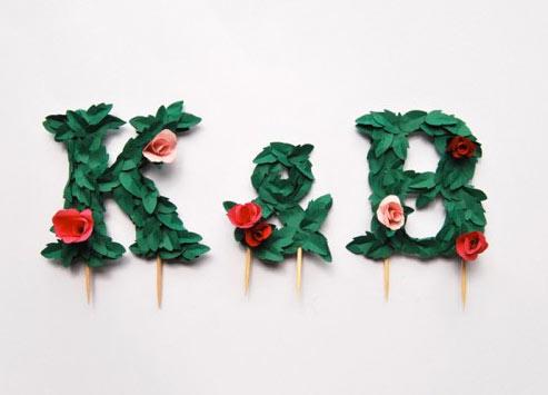 Monogram Cake Toppers: Initials K & B