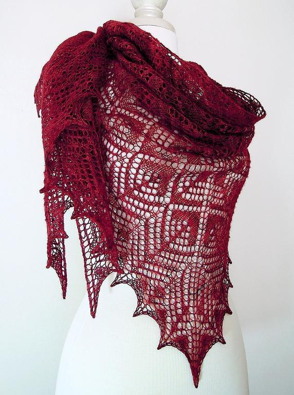 Red Lace Genallen Shawl on Mannequin