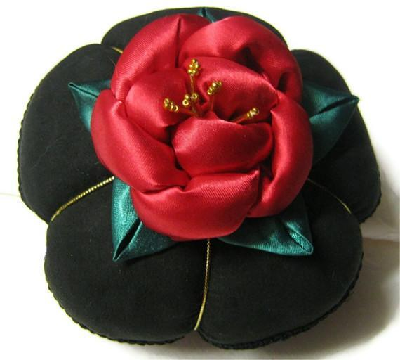 Satin Pincushion with Red Rose