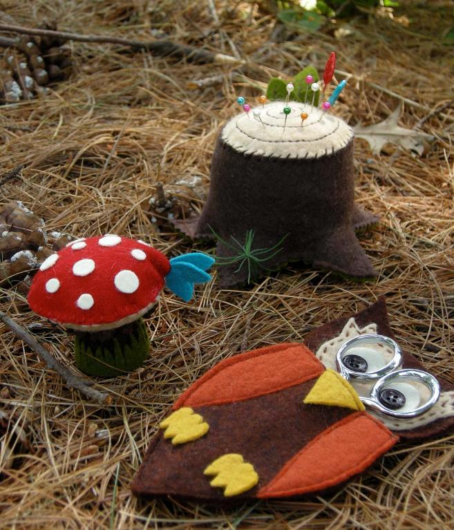 Forest-Themed Pin Cushions
