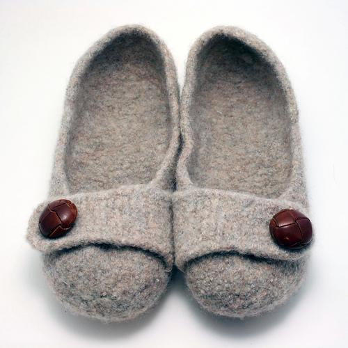 Grey Felted Slippers with Brown Buttons