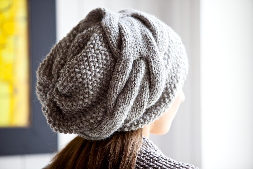 Grey Knit Slouch Hat - Warm Winter Headgear