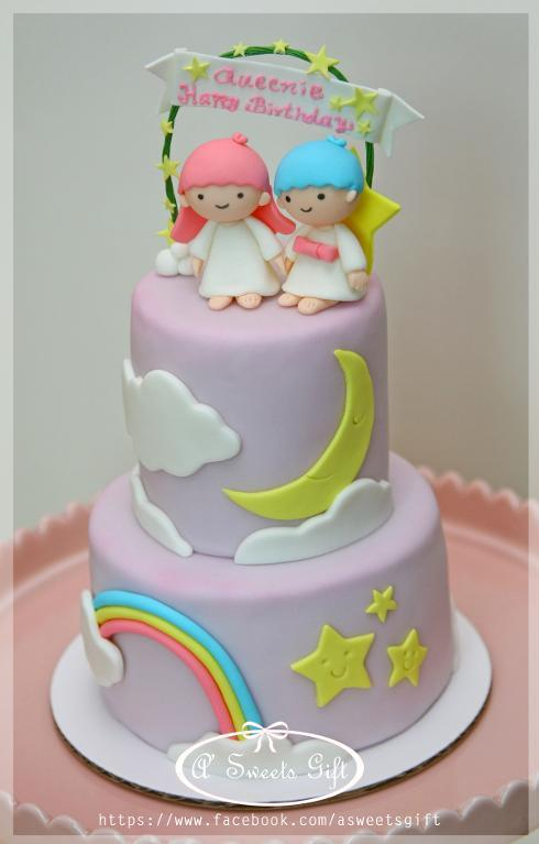 Purple Tiered Cake with Fondant Moon and Star Decs, Twin Toppers