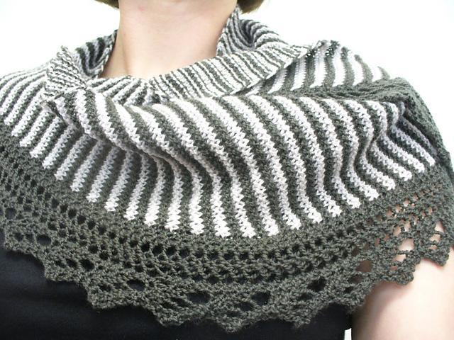 Green and White Sencillo Shawl Being Modeled by Woman