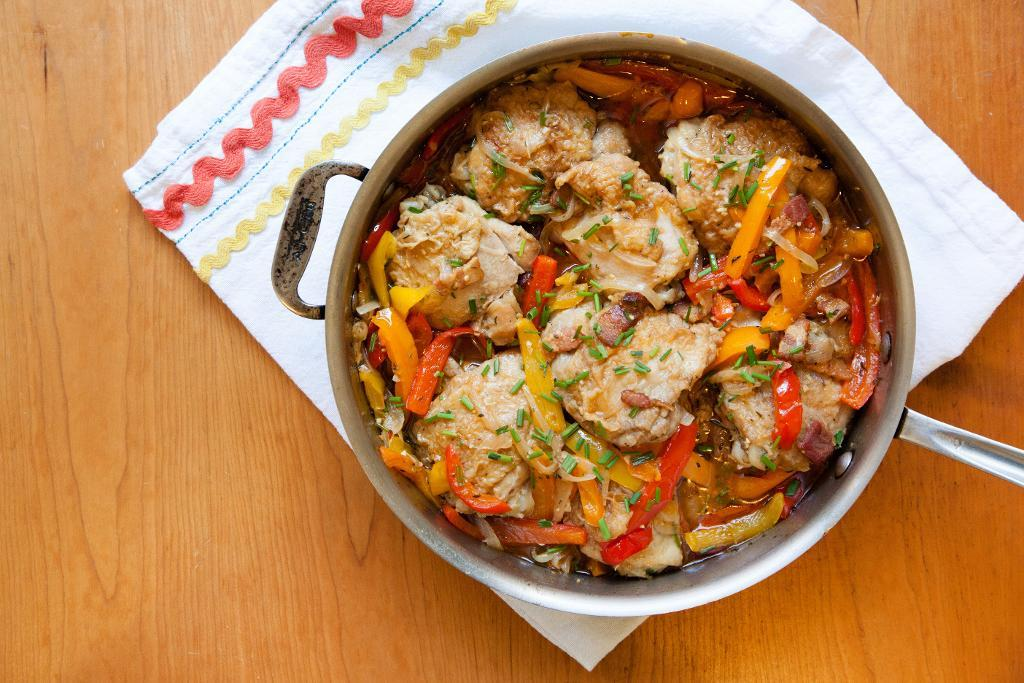 Braised Chicken with Vegetables in a Pan