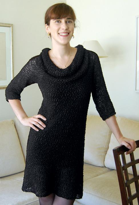 Woman Modeling the Little Black Knitted Dress