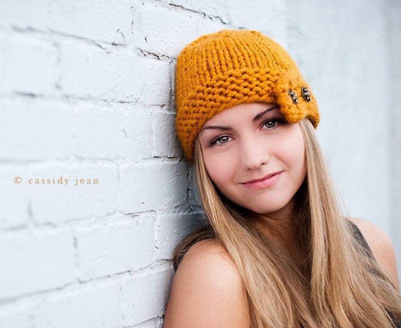 Orange Knit Had with Orange Flower