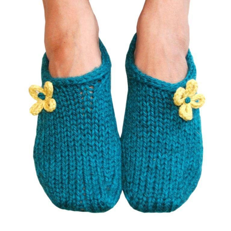 Blue Knit Slippers with Yellow Flowers
