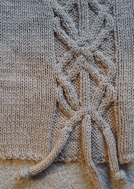 Close Up on Cable Knit Stitch in Grey Garment