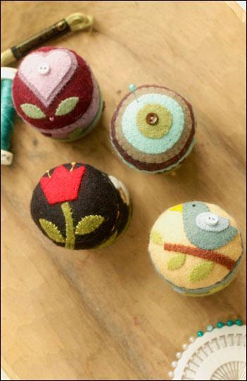 Pincushions Featuring Folk Art Inspired Designs