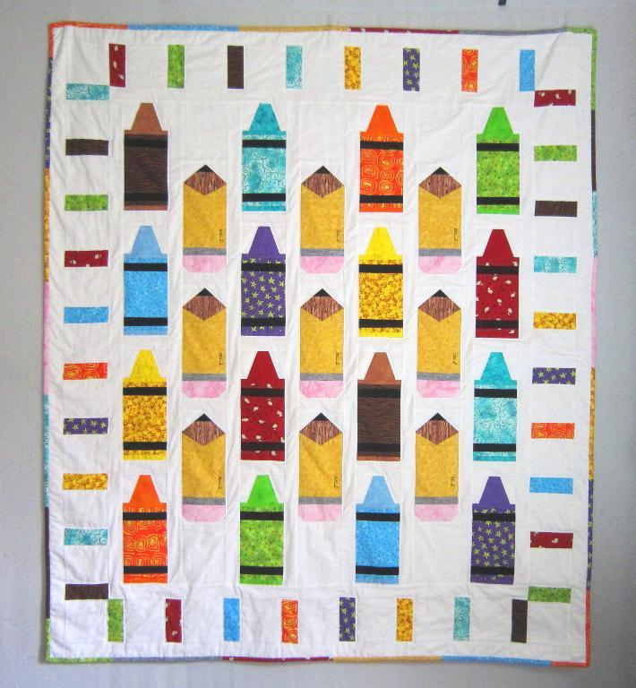Quilt Featuring Colored Crayons