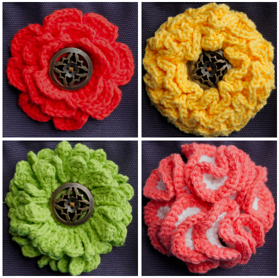 Knitted Flower Buttons, Various Colors