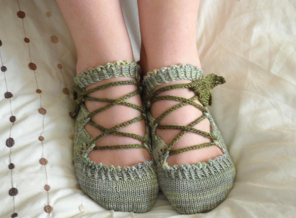 Green Knit Ballet Slippers