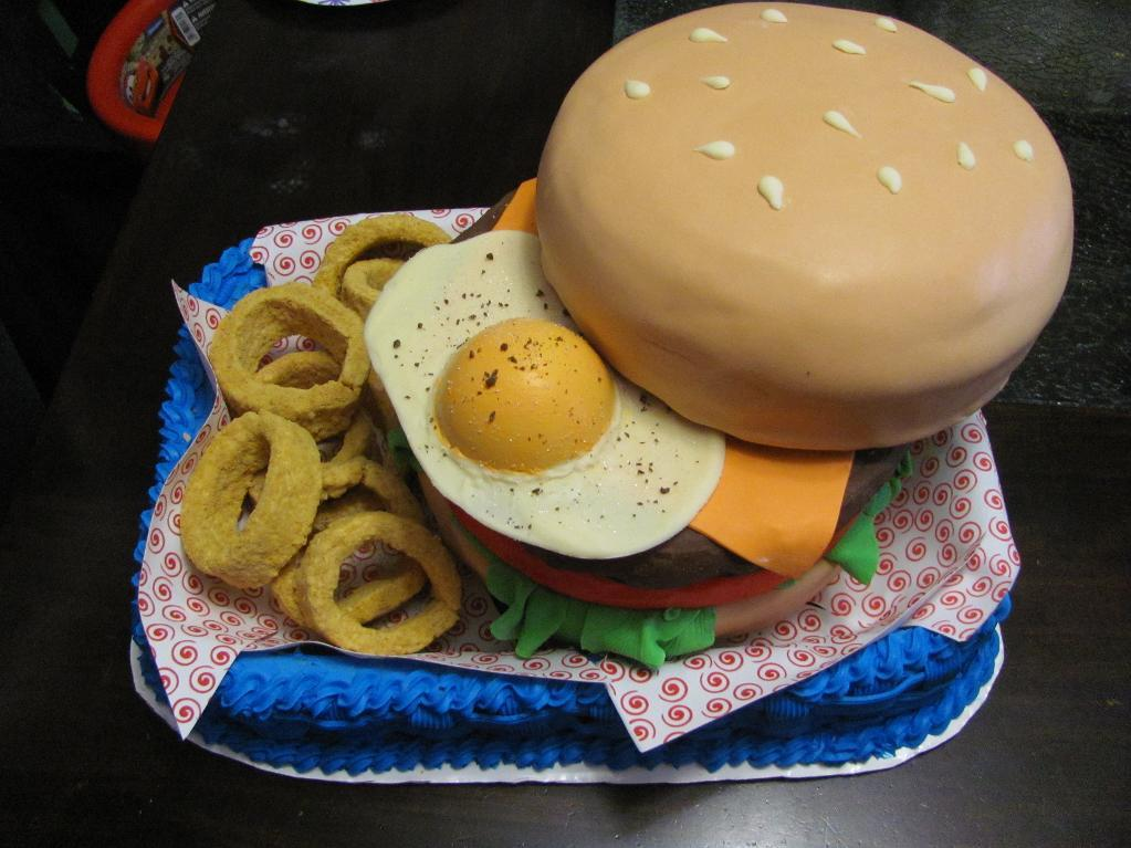 Cake in Shape of Burger with Egg on Top