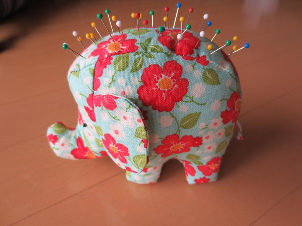 Patterned Elephant Pincushion with Pins