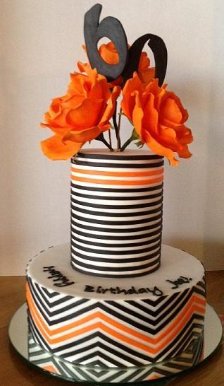Two Layer Stripped 60th Birthday Cake with Orange Flowers