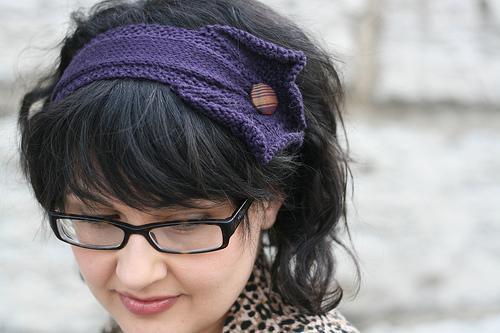 Deep Blue Headband with Wooden Button, on Bluprint