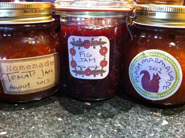 Jars of Tomato and Fig Jam, Peach Marmalade