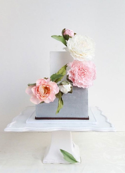 Two-Tiered Square Cake with Pink Roses Climbing up Side