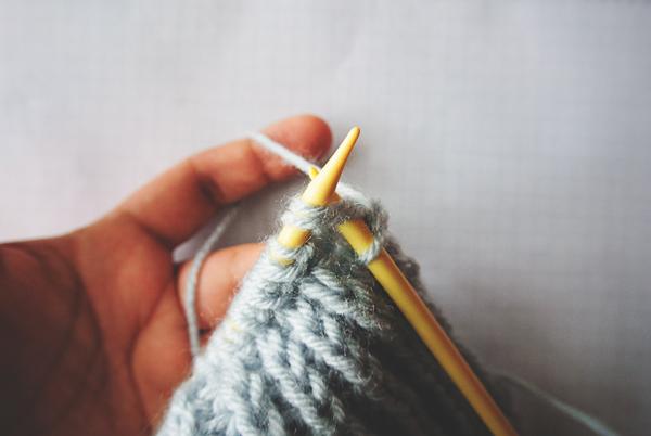 Close-up of knitting half brioche row 2