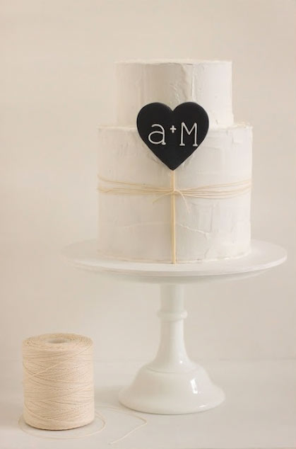 White Cake with Initials inside Heart, on Bluprint