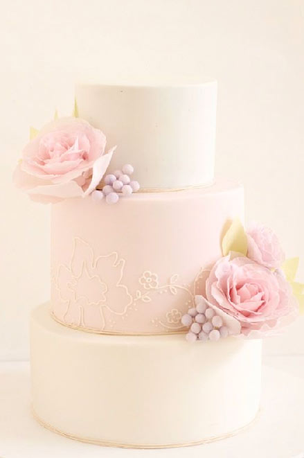 Pastel Pink Cake with Sugar Roses and Buds