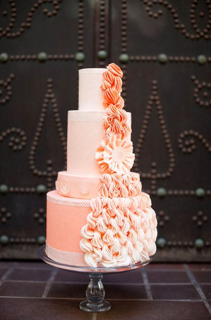 Peach Tiered Cake with Ruffles Running up the Side