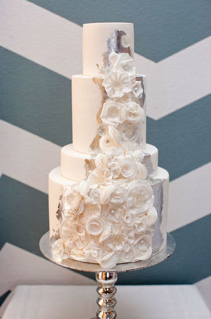 Off-White Tiered Cake with Roses and Silver Splash