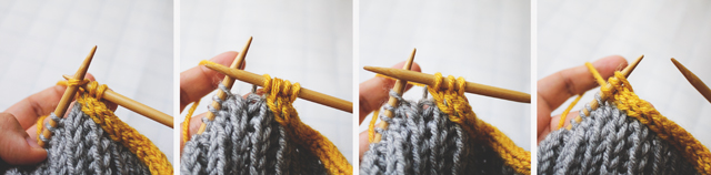 I-cord bind off review: Collage of Steps