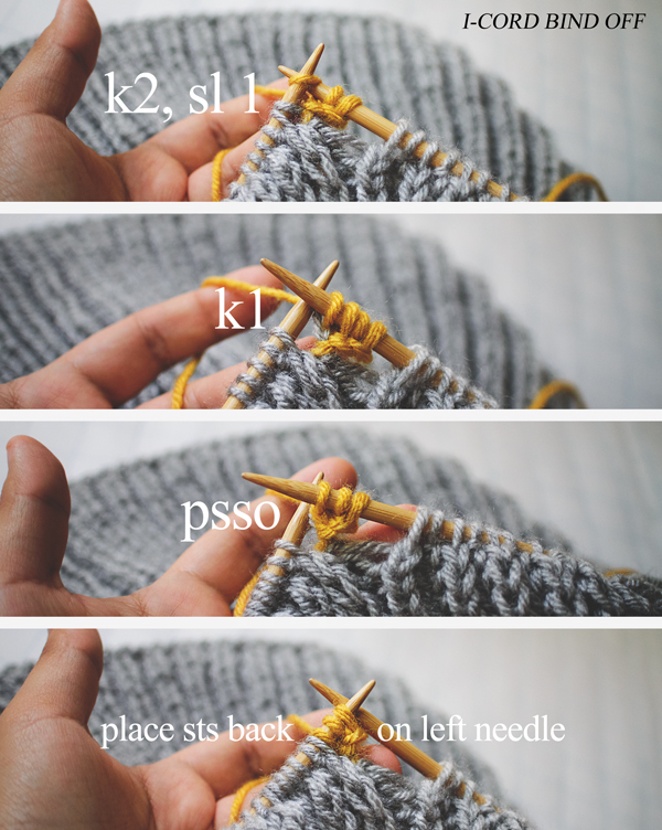 I-cord bind off steps : k2; sl 1, k1; psso; place sts back on left needle