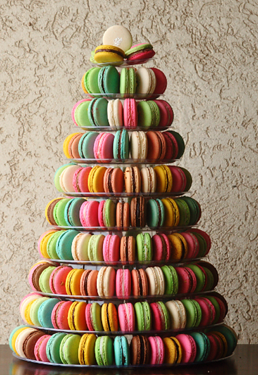 Rainbow-Hued Macarons on a Tower