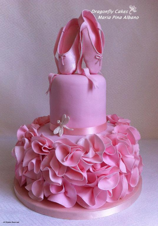 Pink Tiered Cake Topped with Fondant Ballet Shoes
