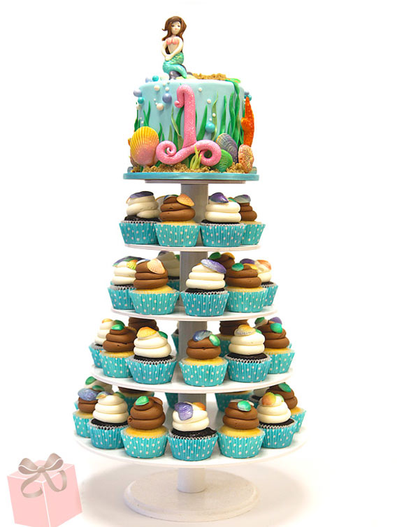 Mermaid Cupcake Tower and Cake