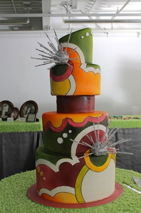 Vintage Cake with Various Bold Colors and Silver Starburst