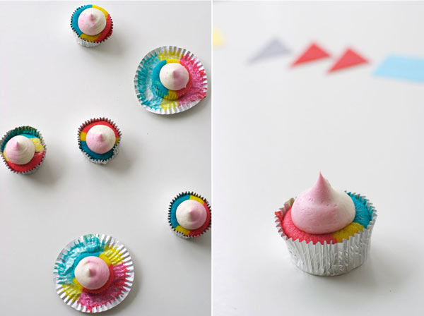 Top View and Side View of Cupcakes with Dollops of Icing