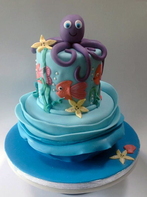 Cake Topped with Sugar Octopus - Bluprint Member Project