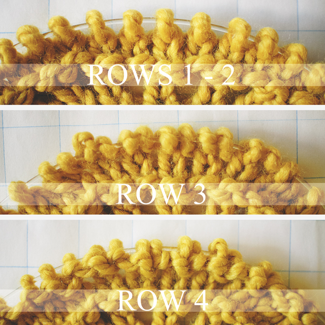 old shale knitting stitch step-by-step, row 1-4