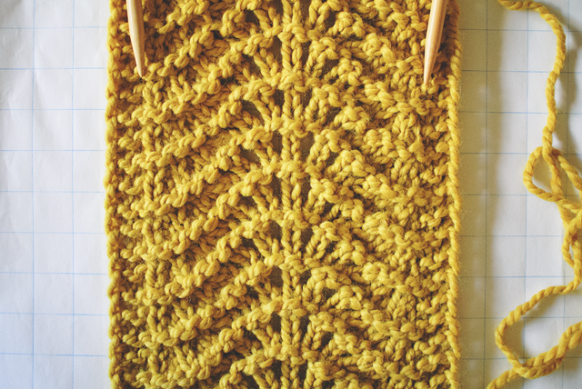 Old Shale Knitting Stitch with Yellow Yarn