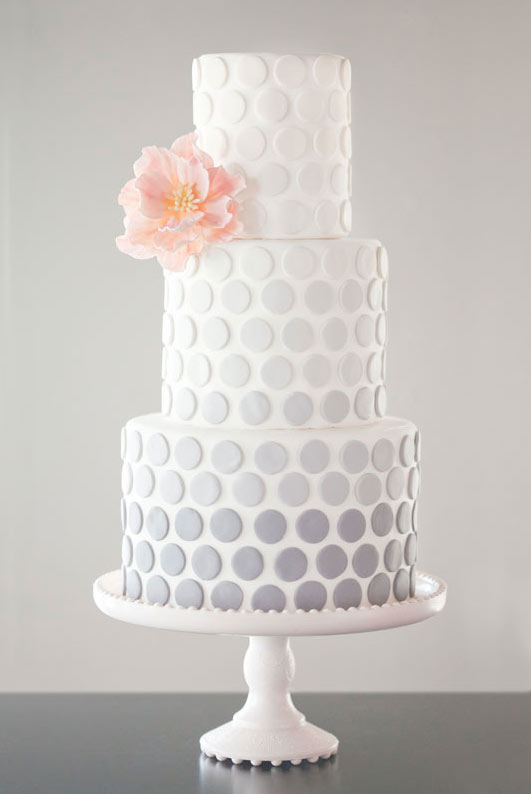 White Tiered Cake with Ombre Polka Dots and Pink Flower