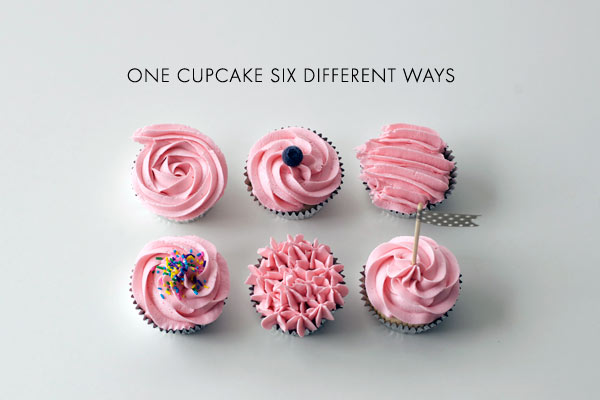 Six Cupcakes Decorate in Pink Icing, Six Different Ways