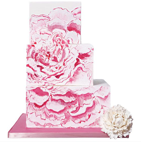 Tiered White Off-Center Cake wtih Painted Pink Rose