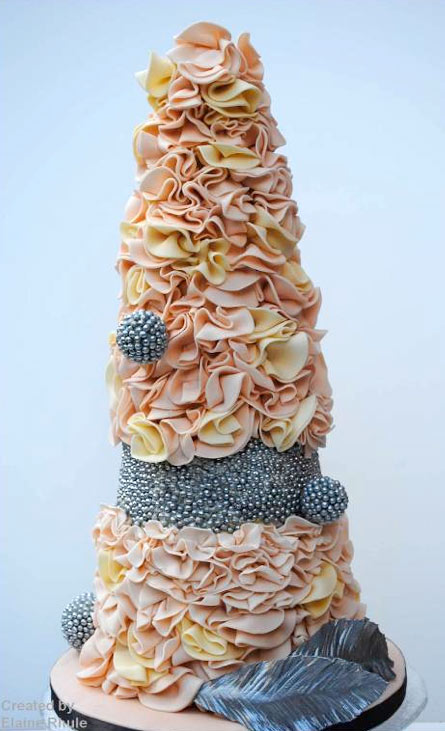Ruffled Peach and Yellow Cake with Silver Decor