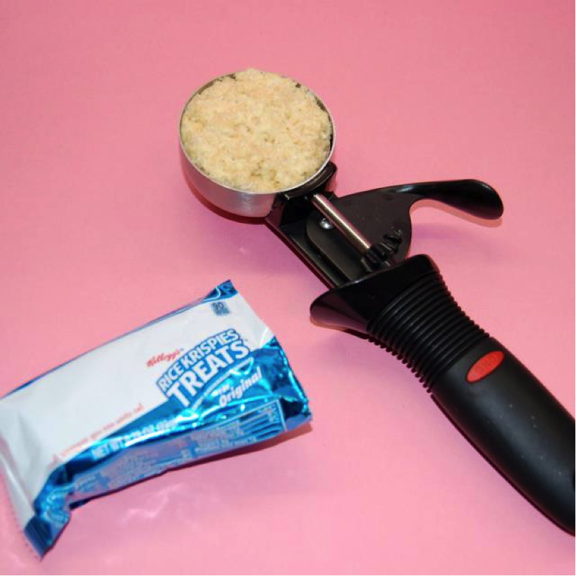 Ice Cream Scoop Filled with Rice Krispies Next to Rice Krispies Package