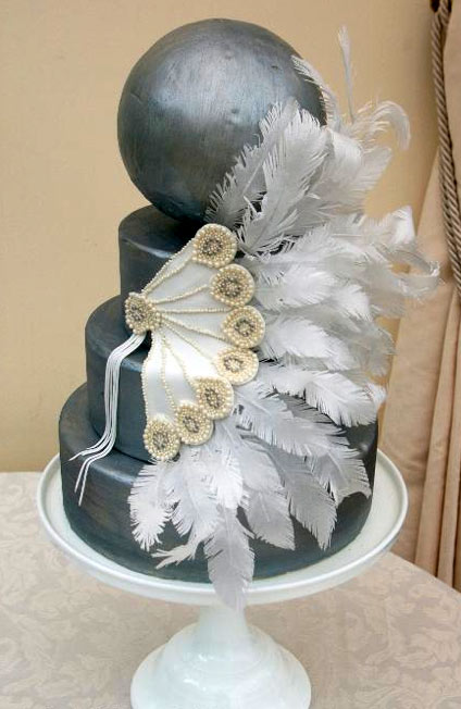 Silver Tiered Cake with White Fondant Fan Decoration